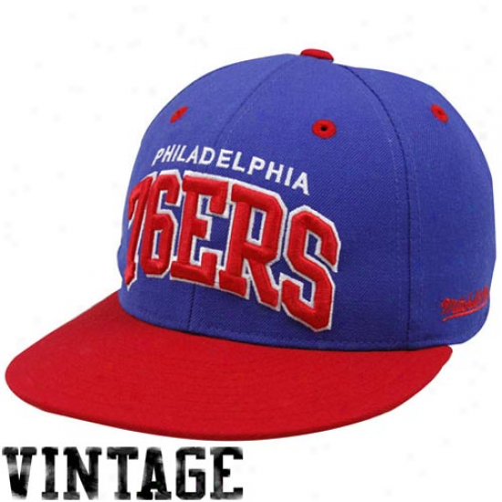 Mitchell & Ness Philadelphia 76ers Royal Blue Vintage Logo Fitted Hat