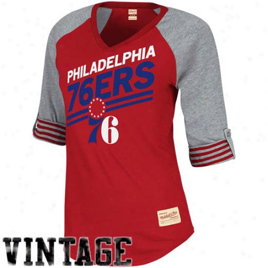 Mitchell & Ness Philadelphia 76ers Womens Comeback Premium T-shirt - Red