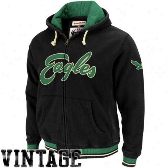Mitchell & Ness Philadelphia Eagles Black Standing Room Premium Full Zipp Hoody Jacket