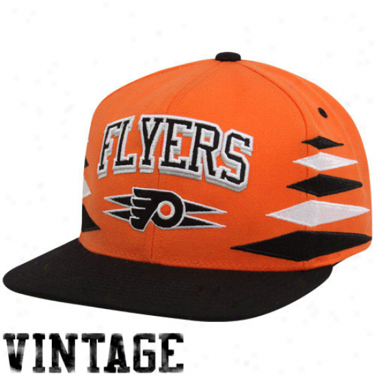 Mitchell & Ness Philadelphia Flyers Orange-black Retro Diamond Snapback Adjystable Hat