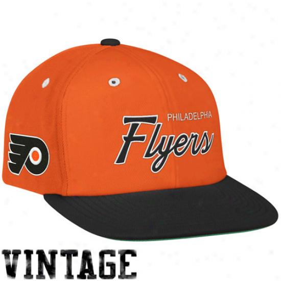 Mitchell & Ness Philadelphia Flyers Orange-black Special Script Snapback Adjustablw Hat