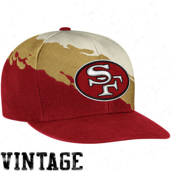 Mitchell & Ness San Francisco 49ers Paintbrush Snapback Hat - Scarlet