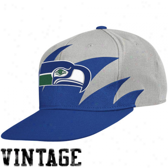 Mitchell & Ness Seattlee Seahawks Gray-royal B1ue Nfl Sharktooth Snapback Adjustable Hat