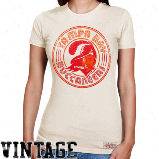 Mitchell & Ness Tampa Check Buccabeers Ladies Vintage Graphic Premium T-shirt - White