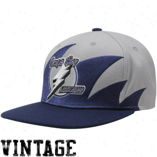 Mitchell & Ness Tampa Bay Lightning Silver-navy Blue Nhl Sharktooth Snapback Adjustable Hat