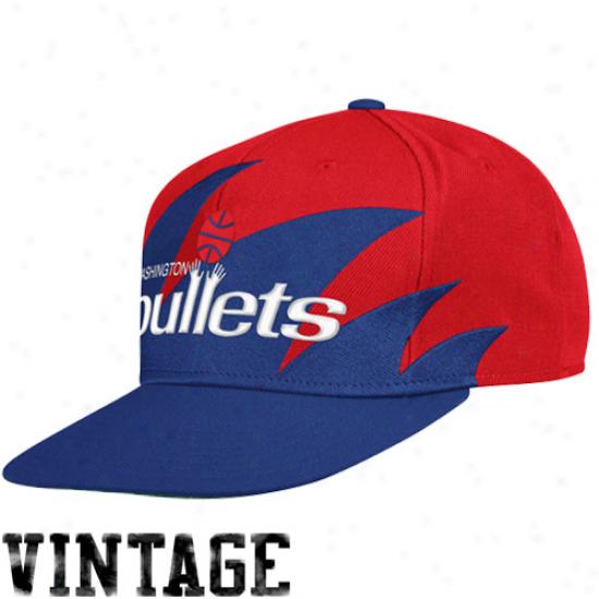 Mitchell & Ness Washington Bullets Men's Sharktooth Snapback Hat - Red/royal Blue