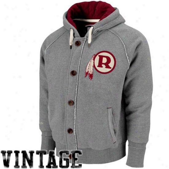 Mitchell & Ness Washington Redskins Ash Half Tine Full Zip Hoodie Sweatshirt