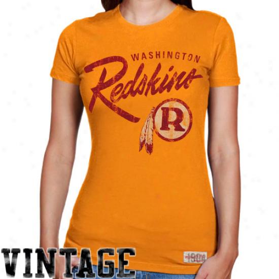 Mitchell & Ness Washington Redskins Ladies Vintage Graphic Premium T-shirt - Gold