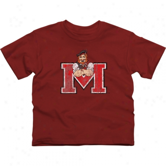 Monmouth College Fighting Scots Youth Distressed Primary T-shirt - Red