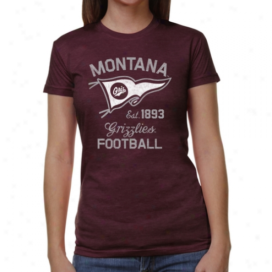 Montana Grizzlies Ladiess Pennant Sport Junior' dTri-blend T-shirt - Maroon