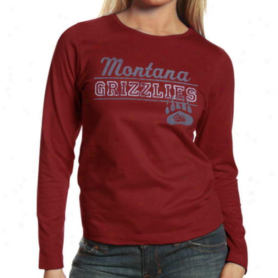 Montana Grizzlies Ladies Uprising Long Sleeve T-shirt - Cardinal