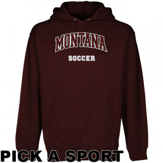 Montana Grizzlies Maroon Custom Sport Arch Applique Midweight Pullover Hoody -