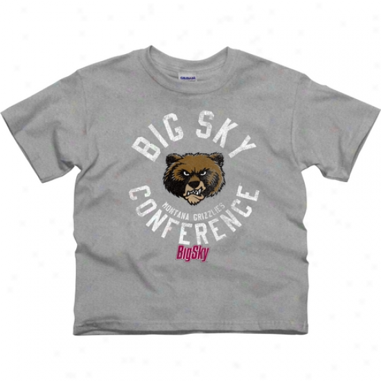Montana Grizzlies Boy Conferrence Stamp T-shirt - Ash