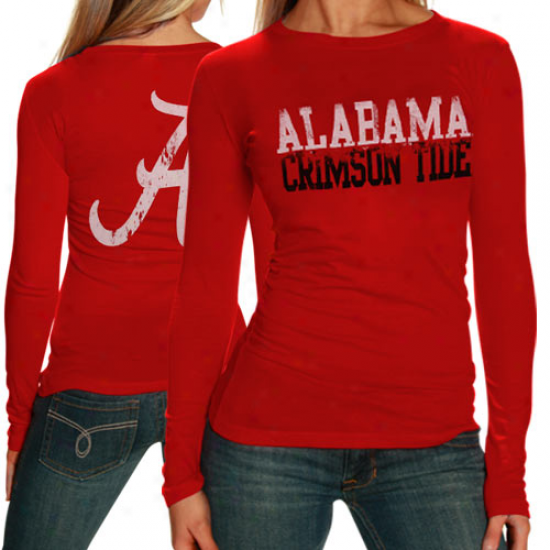 My U Alabama Ctimson Tide Ladies Crimson Literality Long Sleeve T-shirt
