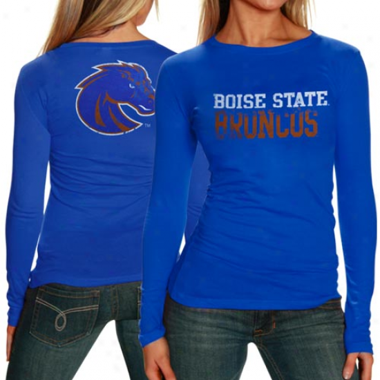 My U Boise State Broncls Ladies Literality Long Sleeve Premium T-shirt - Royal Blue