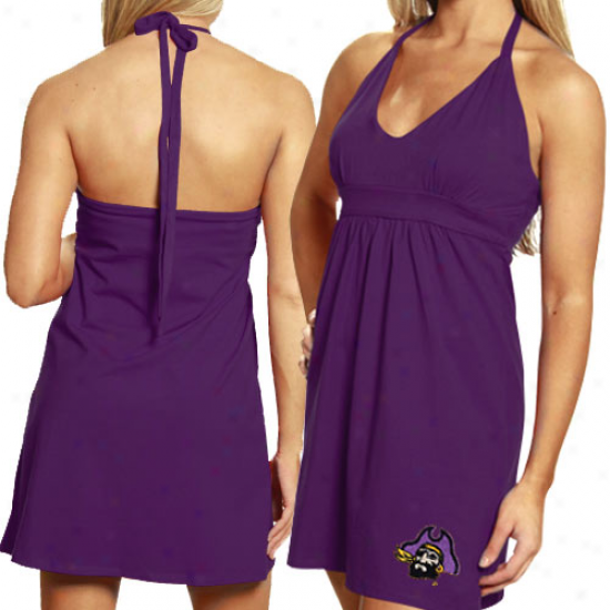 My U East Carolina Pirates Ladies Purple Embroidered Halter Sundress