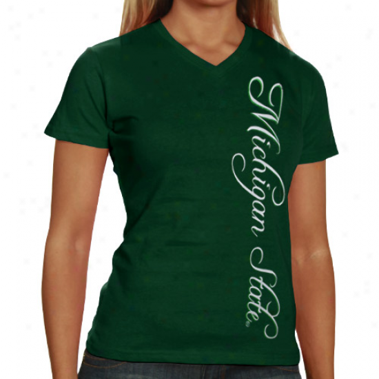 My U Michigan State Spartans Ladies Green Scripty Foil V-neck T-shirt