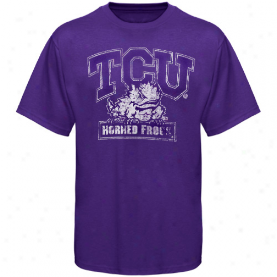 My U Texas Christian Horned Frogs (tcu) Vintage Logo T-shirt - Purple