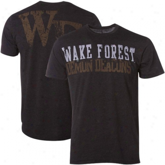 My U Wake Forest Demon Deacons Heather Black Literality T-shirt