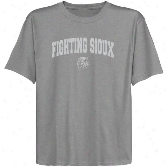 N. Dakota Fighting Sioux Youth Ash Logo Arch T-shirt