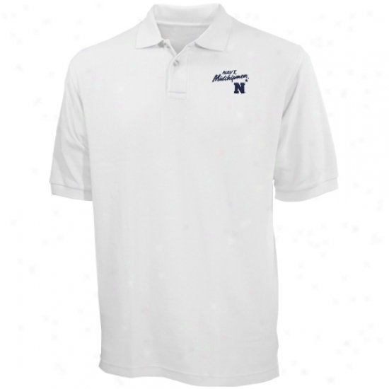 Navy Midshipmen White Blazer Logo Pique Polo
