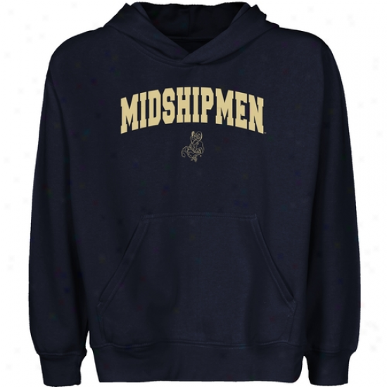 Navy Midshipmen Youth Navy Melancholy Logo Arch Pullvoer Hoody