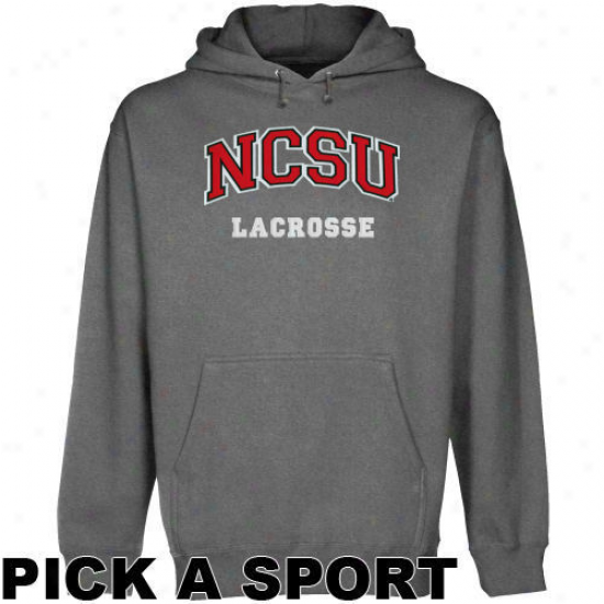 Nc State Wolfpack Gunmetal Custom Sport Arch Applique Midweignt Pullover Hoody -