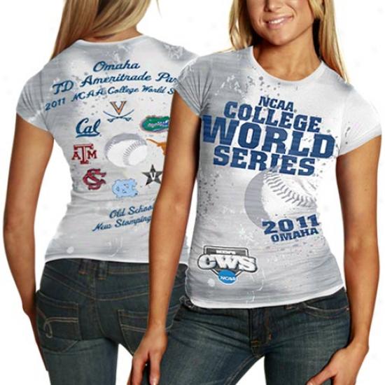 Ncaa 2011 Men's Baseball College World Series Bound Ladies 8 Tem Sublimated Premium T-shirt - White