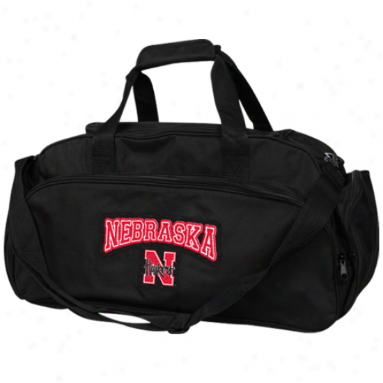 Nebraska Cornhuskers Black Fly-by Duffel Bag -