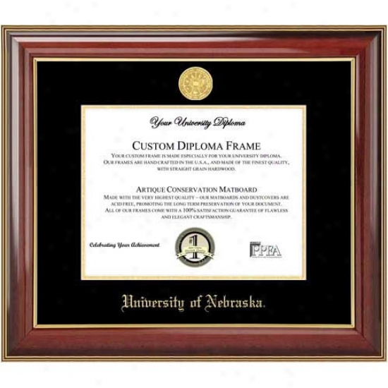 Nebraska Cornhuskers Classic Mahogany Gold Trim Medallion Diploma Frame