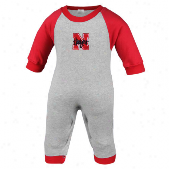 Nebraska Cornhuskers Infant Ash-scarlet Long Sleeve Raglan Romper