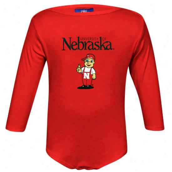Nebraska Cornhuskers Infant Scarlet Mascot Long Sleeve Creeper