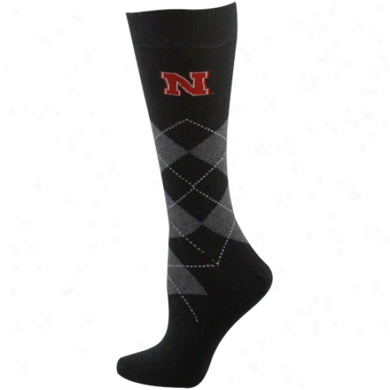 Nebraska Cornhuskers Ladies Black Argyle Tall Socks
