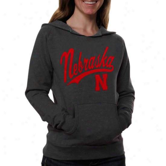 Nebraska Cornhuskers Ladies Black Script One V-neck Hoodie Sweatshirt
