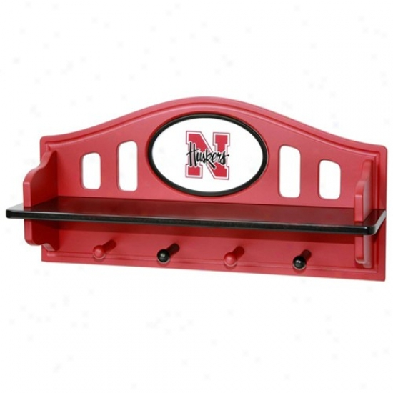 Nebraska Cornhuskers Scarlet Shelf With Pegs