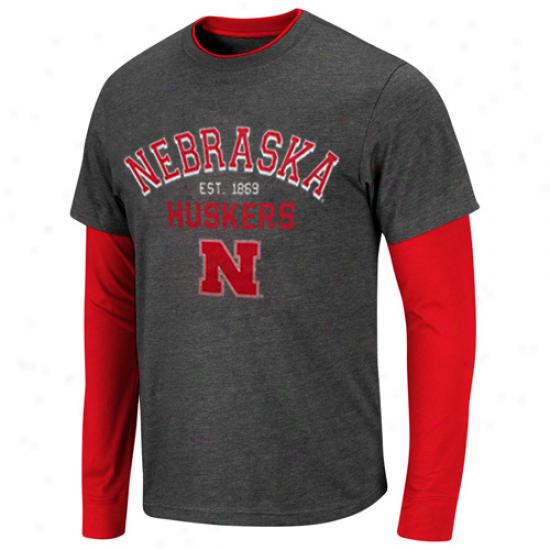 Nebraska Cornhuskers Venture Double Layer Long Sleeve T-shirt - Charcoal