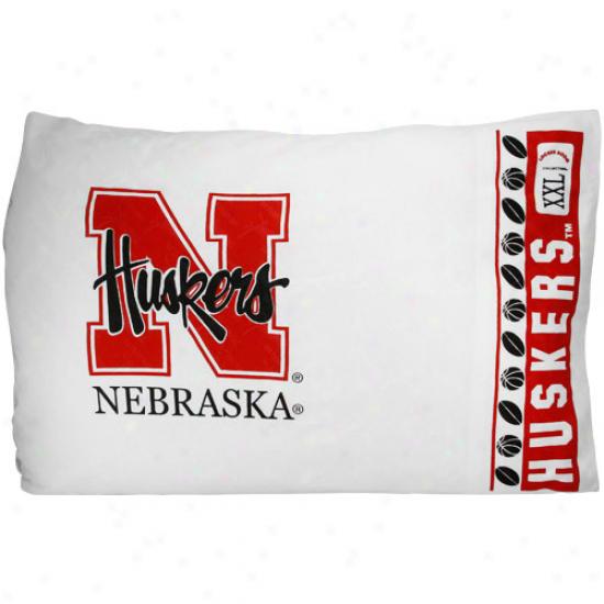 Nebraska Cornhuskers White Pillowcase