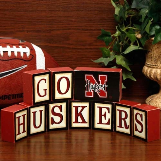 Nebraska Cornhuskers Wooden Block Set