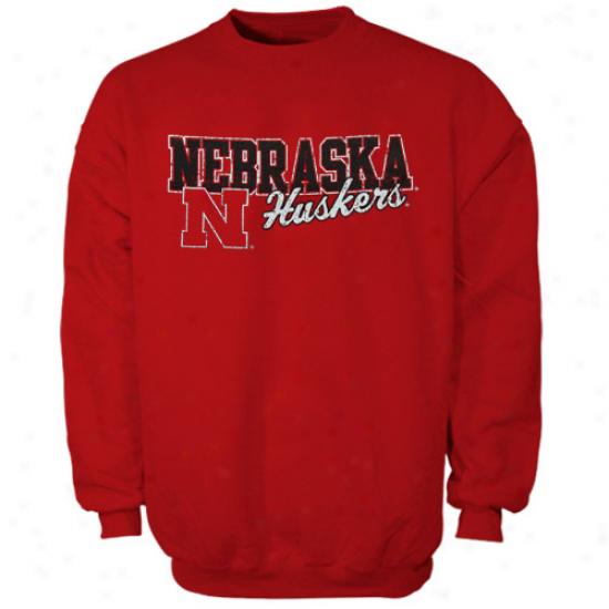 Nebrraska Cornhuskers Youth Scarlet Campus Crew Sweatshirt