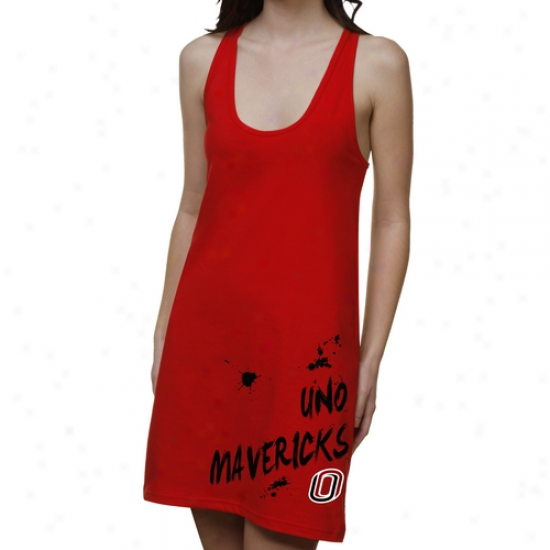 Nebraska Omaha Mavericks Ladies Paint Strokes Junior's Racerback Dress - Crimson