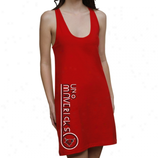 Nebraska Omaha Maverics Ladies Retro Junior'sR acerback Dress - Crimson