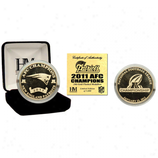 New England Patriots 2011 Afc Champions 24kt Gold Coin