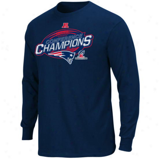 New England Patriots 2011 Afc Champions Conference Chocie Iv Long Sleeve T-shirt - Ships of war Blue