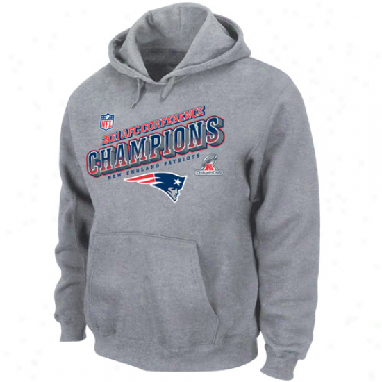 New England Patriots 2011 Afc Champions Locker Place Dimension Pullover Hoodie Sweatshirt - Steel