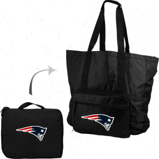 New England Patriots Black Fold-away Tote Bag Travel Pack