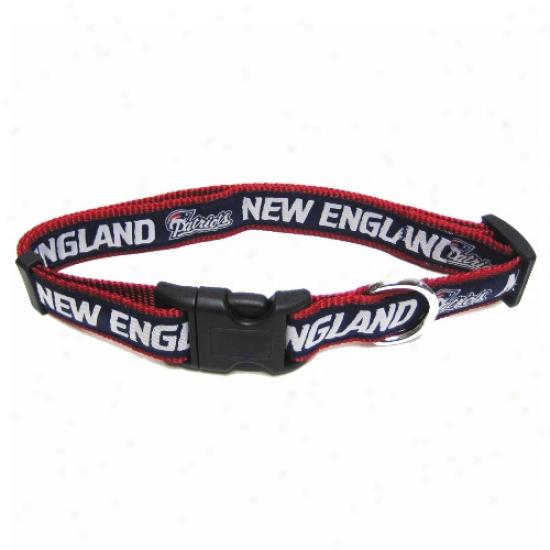 New England Patriots Navy Blue Adjustable Woven Team Pet Collar