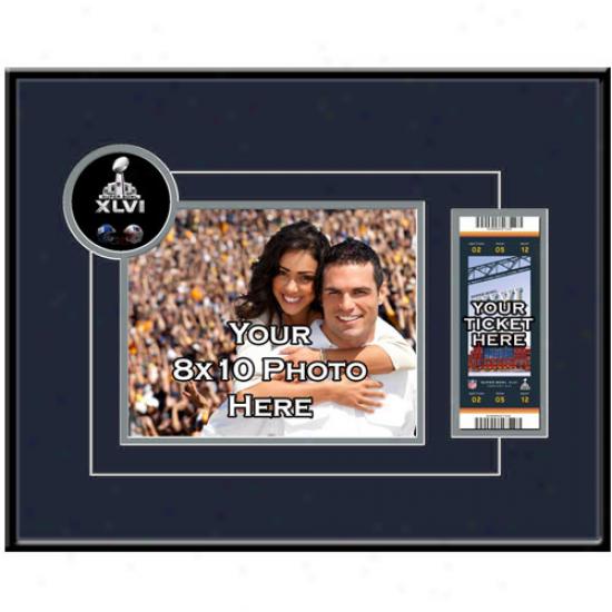 New England Patriots Super Bowl Xlvi 8'' X 10'' Photo & Ticket Frame
