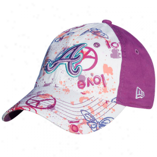 New Era Atlanta Braves Preschool Girls Purple-white Solar Ppwer Adjustable Hat