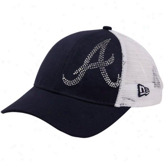New Era Atlanta Braves Youth Girls Jr. Jersey Shimmer Mesh Hinder part Adjustable Hat - Navy Blue-white