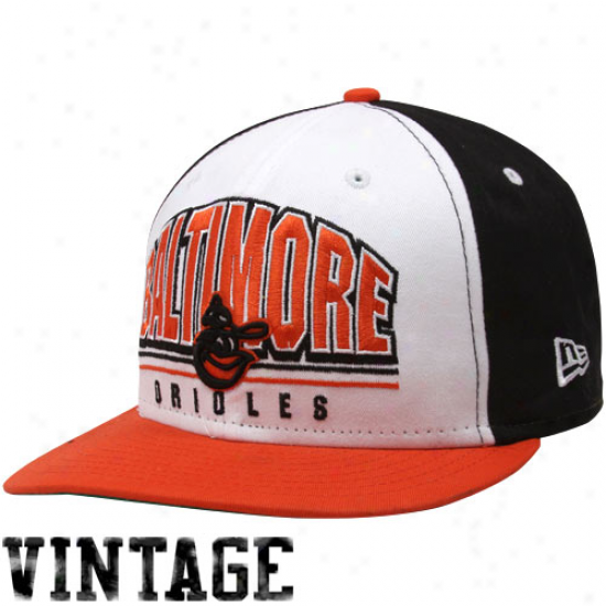 New Era Baltimore Orioles Black-white-orange Monolith 9fifty Snapback Adjustable Hat
